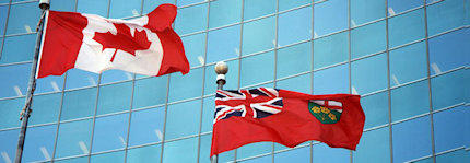 Canadian and Ontario flags