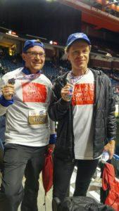 Graham Robinson and Michael Sawarna after the 5K race